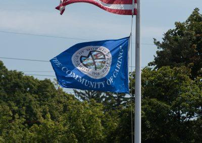 Flag Pole with US Flag and Morris Plains Flag